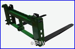 48 Pallet Fork Attachment with 2 Trailer Receiver Hitch fits John Deere Loader