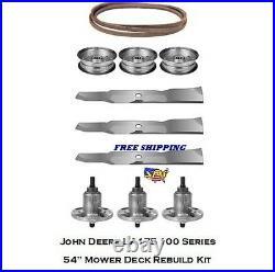 54 Mower Deck Rebuild Kit Fits John Deere LA175 100 Series Blades Spindles 130