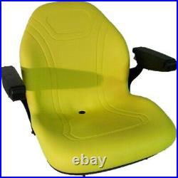 High Back Yellow Seat w Drainhole & Folding Armrests Fits John Deere Mowers