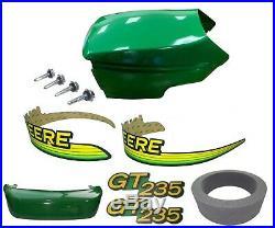 New Upper&Lower Hood/Bumper/Foam Isolator/LH&RH Stickers Fits JohnDeere GT235 UP