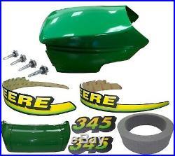 New Upper &Lower Hood/Bumper/Foam Isolator/LH&RH Stickers Fits John Deere 345 UP