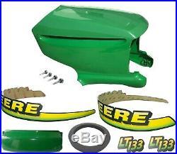 New Upper & Lower Hood/Bumper/Foam Isolator/LH&RH Stickers Fits John Deere LT133