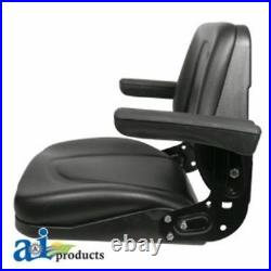 To fit Kubota Universal tractor seat with flip up arms and slide track black
